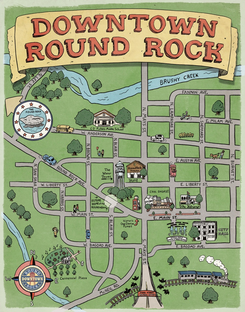 Downtown Round Rock Illustrated Map On Behance - Round Rock Texas Map
