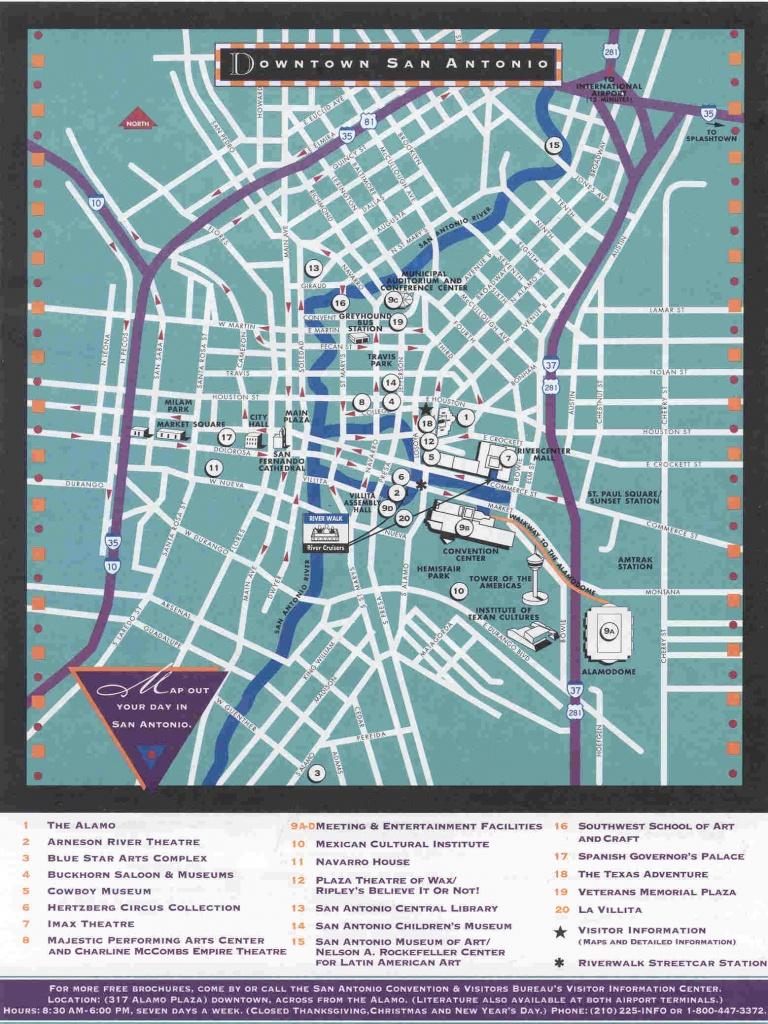 Downtown San Antonio Map - San Antonio Texas • Mappery - Map Of Downtown San Antonio Texas