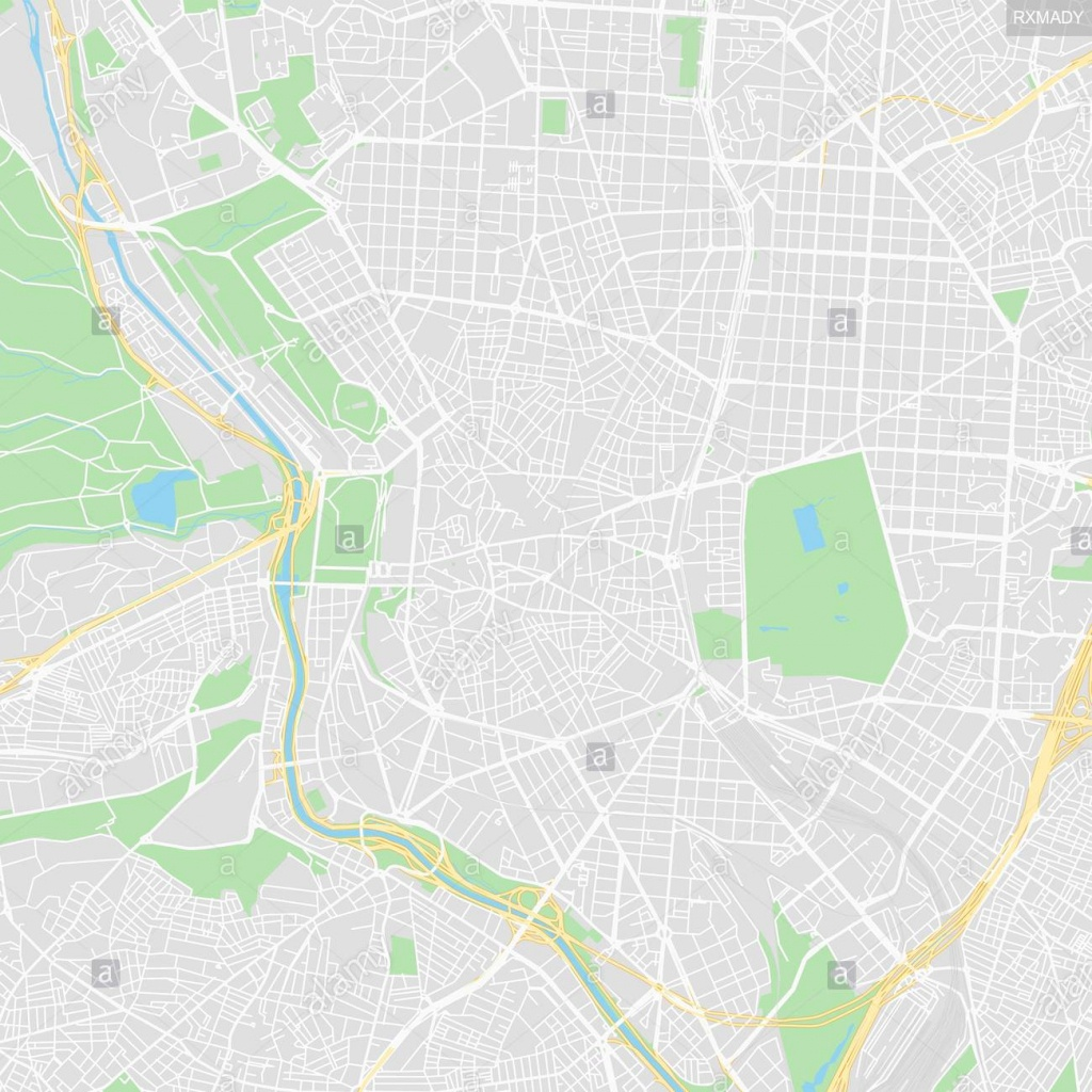Downtown Vector Map Of Madrid, Spain. This Printable Map Of Madrid - Printable Map Of Madrid