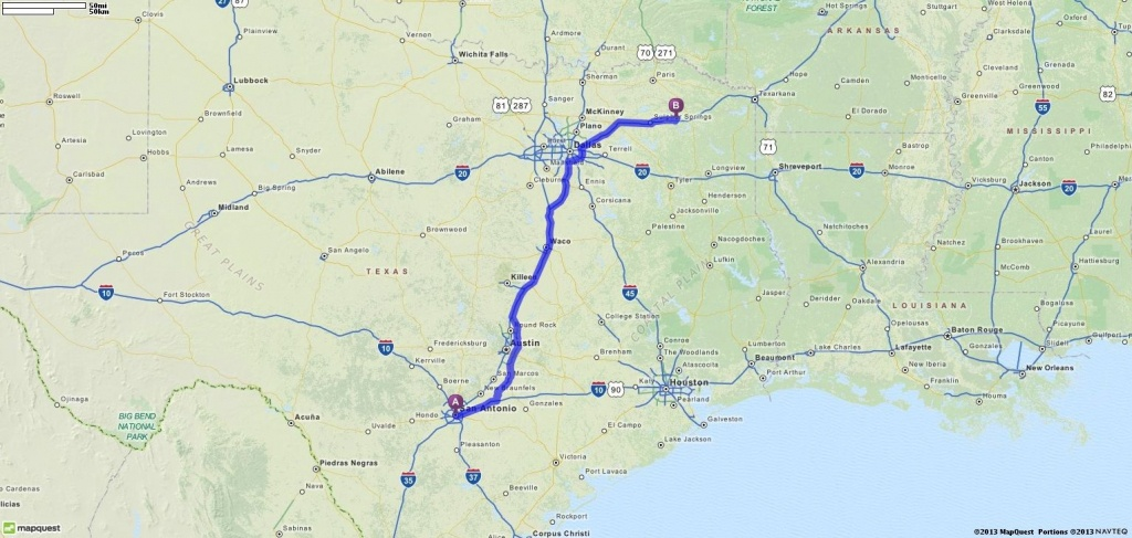 Driving Directions From San Antonio, Texas To Mount Vernon, Texas - Mapquest Texas Map