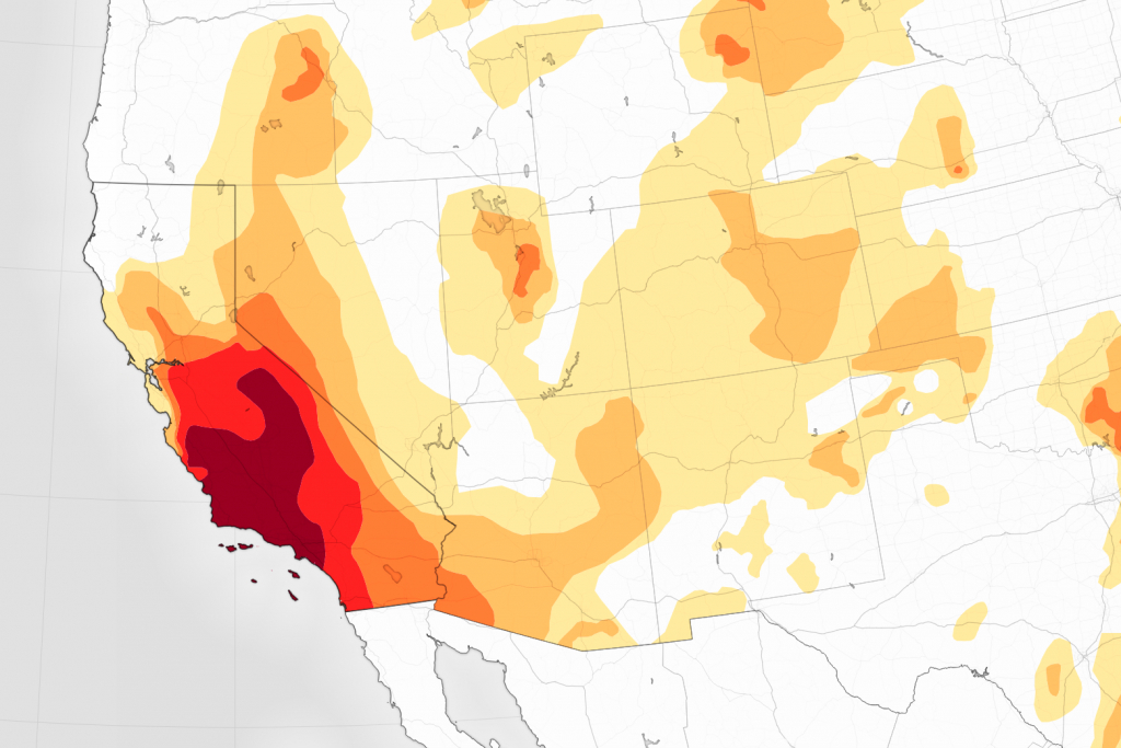 Drought Continues To Grip Southern California - Heat Map Southern California