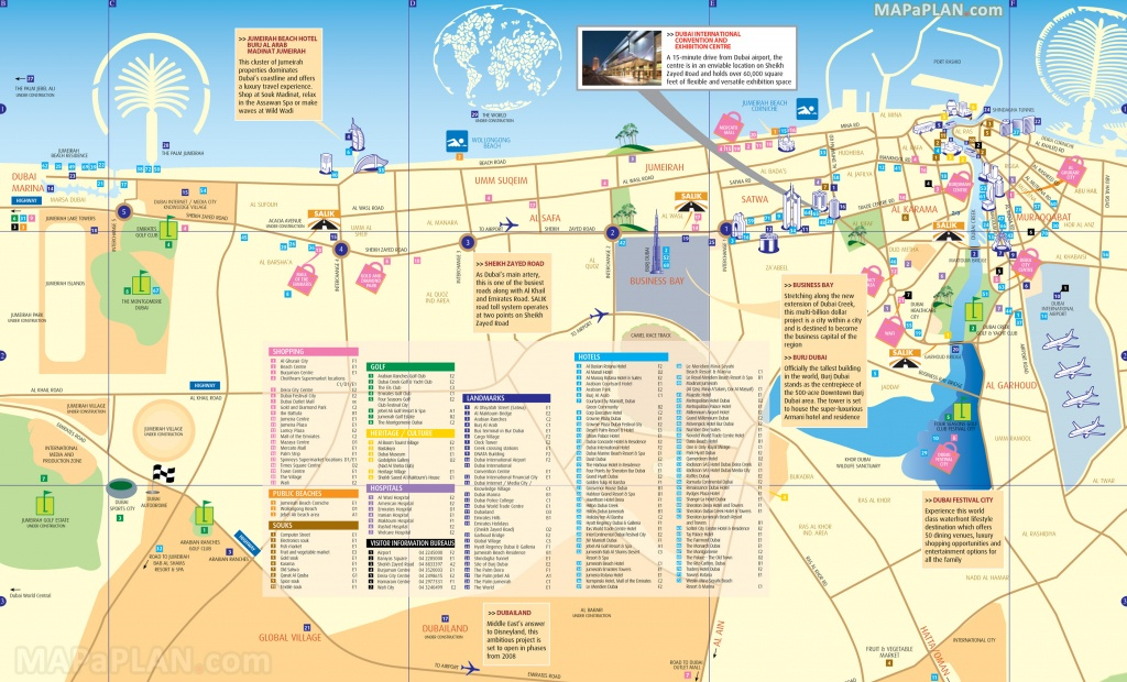 Dubai Maps - Top Tourist Attractions - Free, Printable City Street Map - Printable Map Of Dubai