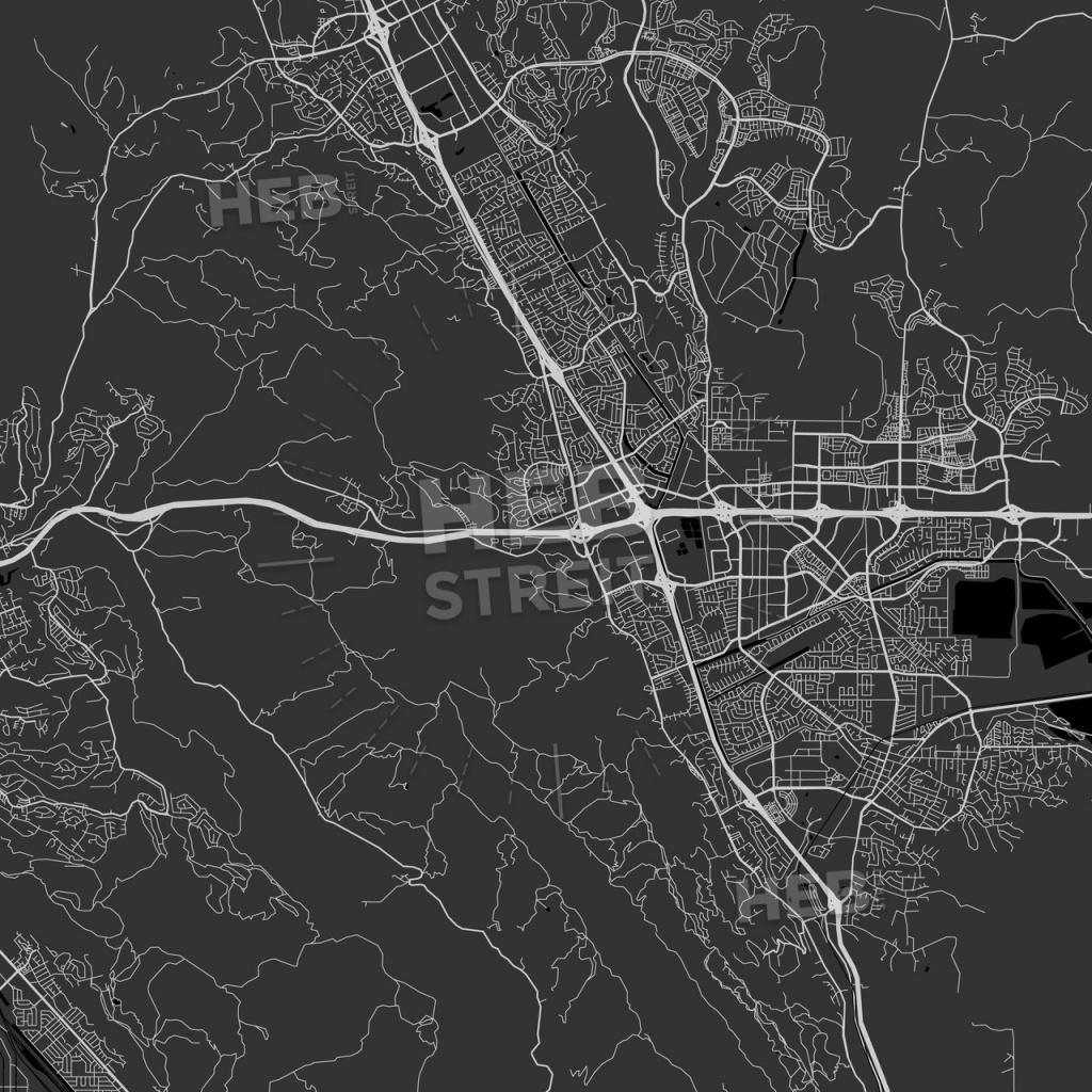 Dublin, California - Area Map - Dark | Hebstreits Sketches - Map Of Dublin California Area