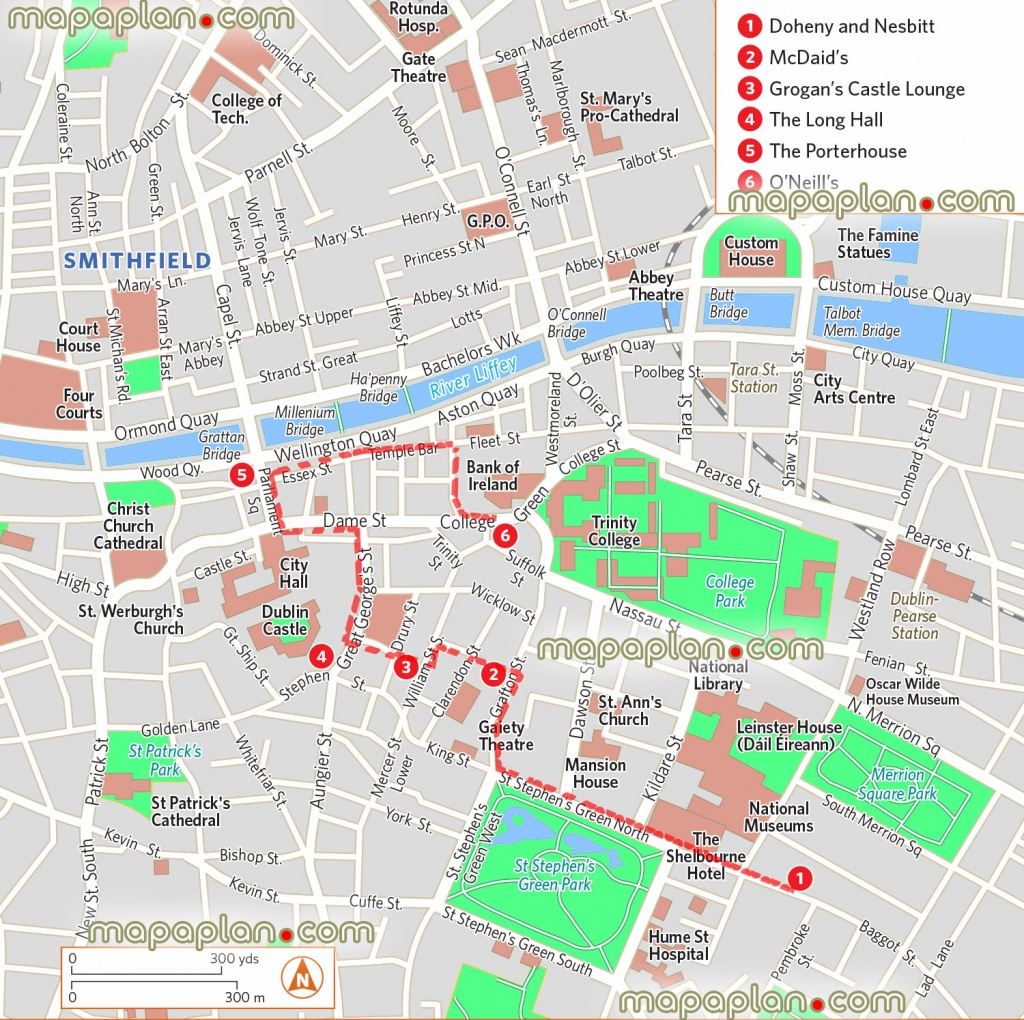 Dublin Map - Pub Crawl Map Showing The Most Iconic Pubs And Bars - Printable Map Of Dublin