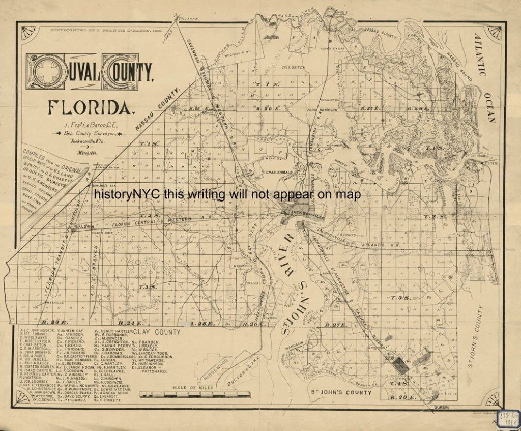 Duval Florida Maps | 1884 Large Land Ownership Map Duval County - Historic Florida Maps