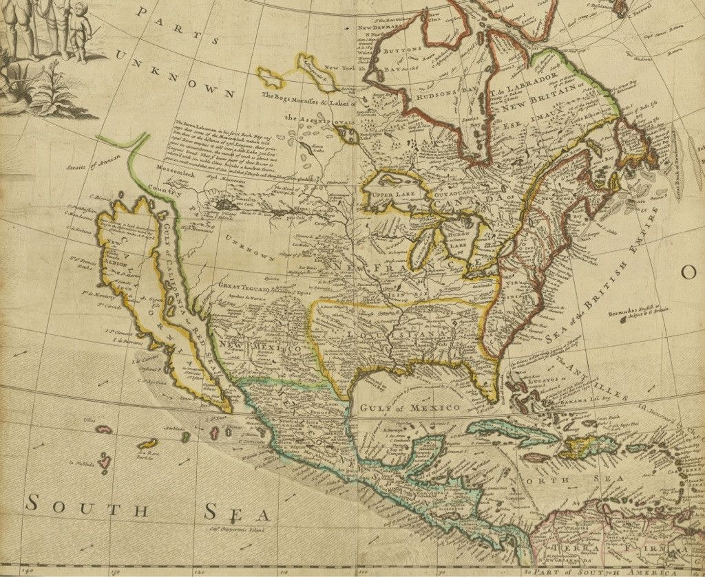 Early Map Of North America Depicting California As An Island - Historical Map Of California