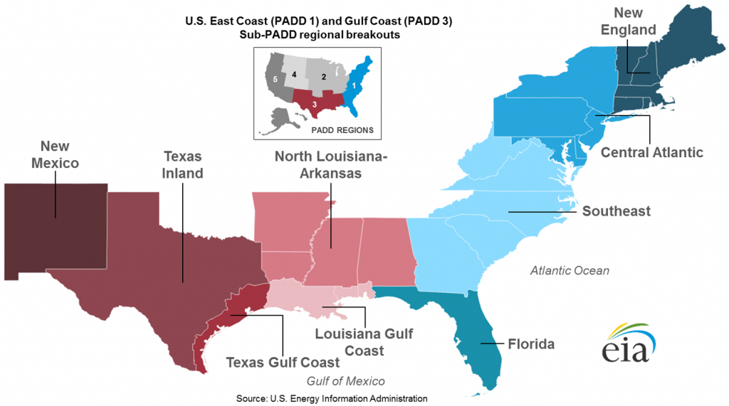 East Coast And Gulf Coast Transportation Fuels Markets - Energy - Texas Refineries Map