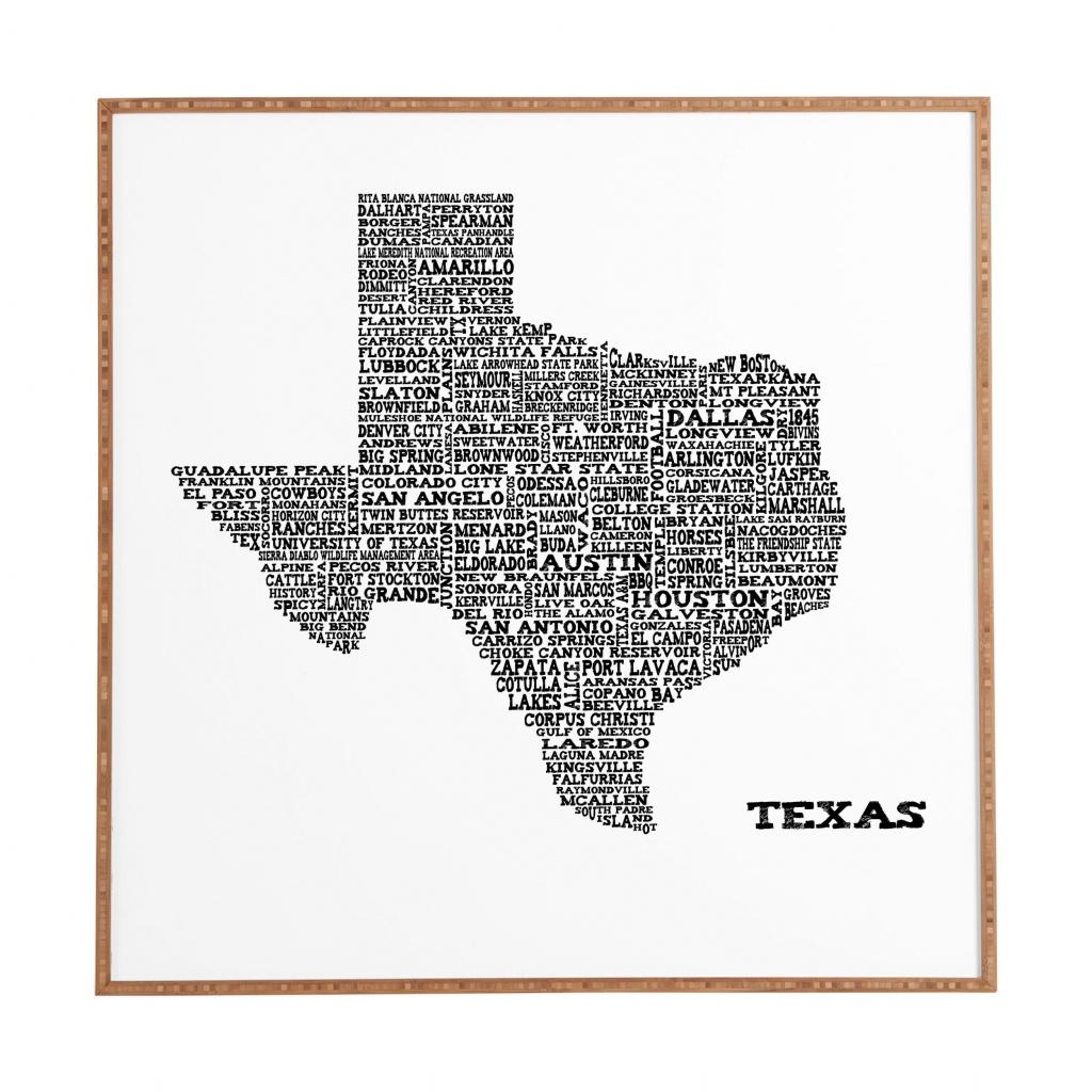 East Urban Home 'texas Map' Framed Graphic Art & Reviews | Wayfair - Map Of Texas Art