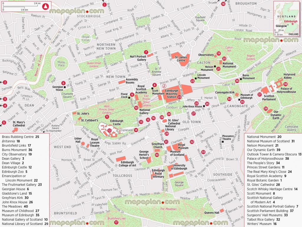 Edinburgh Maps - Top Tourist Attractions - Free, Printable City - Edinburgh Street Map Printable