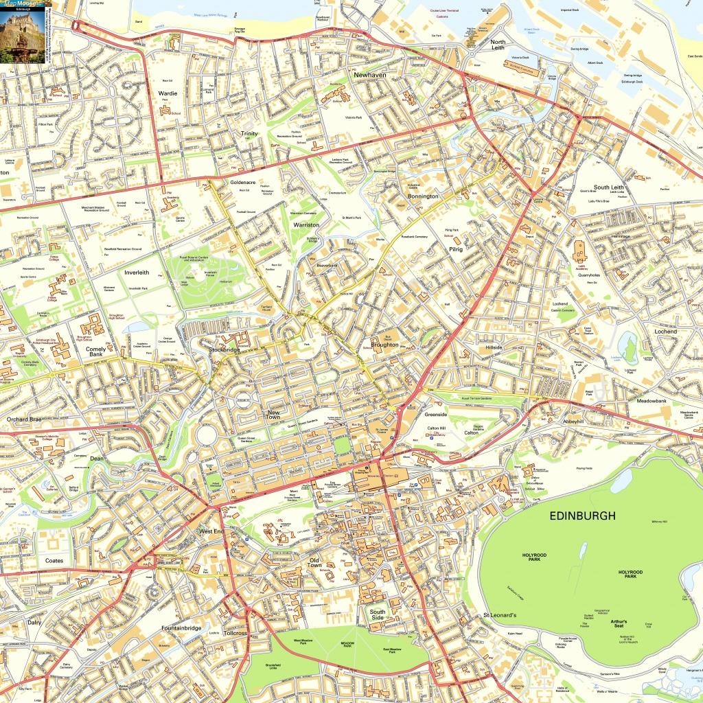 Edinburgh Offline Street Map, Including Edinburgh Castle, Royal Mile - Printable Street Maps Free