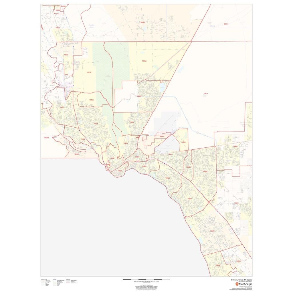 El Paso, Texas Zip Codes - The Map Shop - El Paso County Map Texas