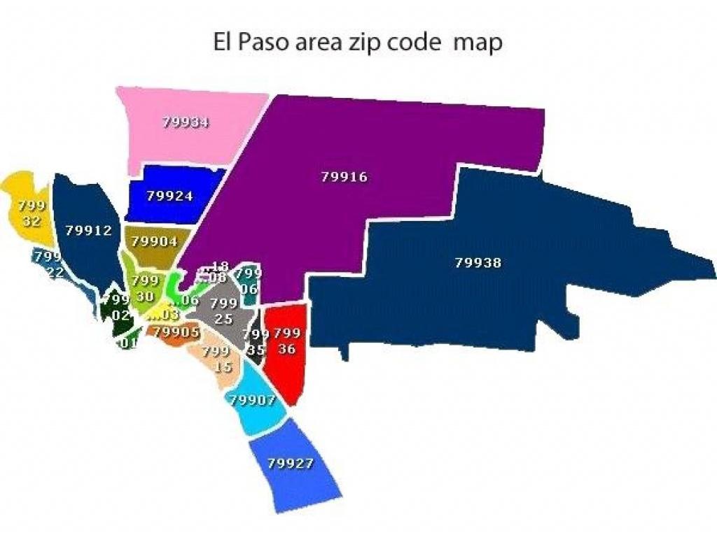 El Paso Zip Code Map - Carte De El Paso County Texas (Texas - Usa) - El Paso County Map Texas