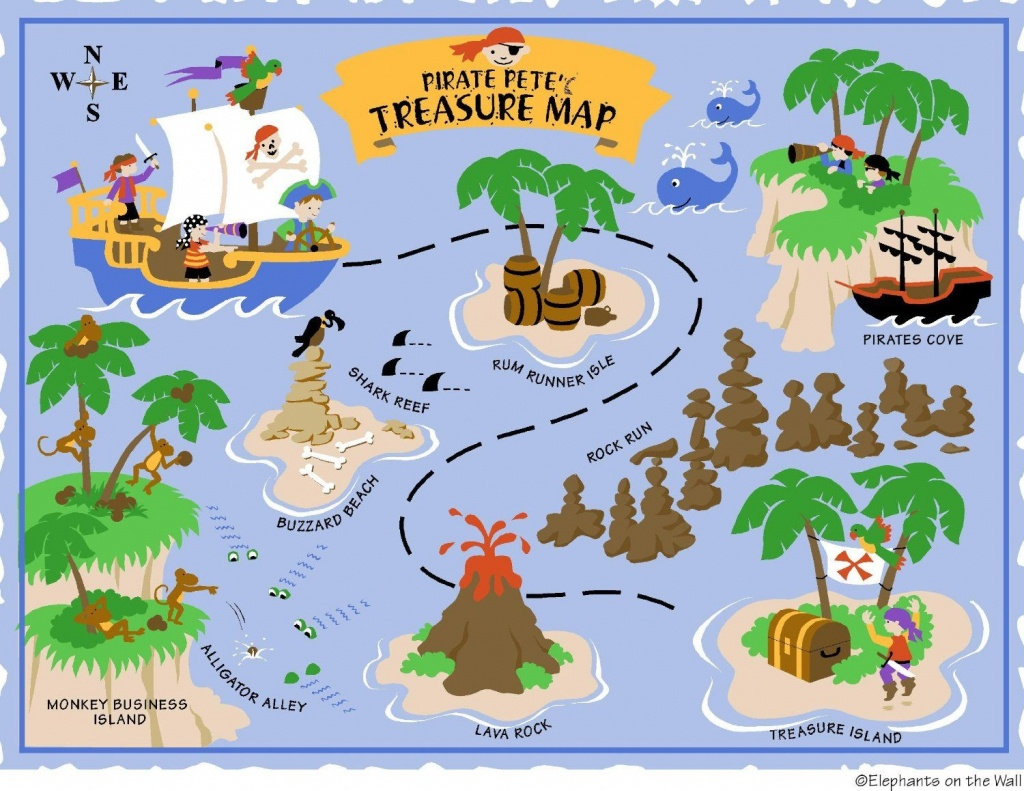 Elephants On The Wall D I Y Paint A Mural, Pirate - Clip Art Library - Printable Treasure Maps For Kids