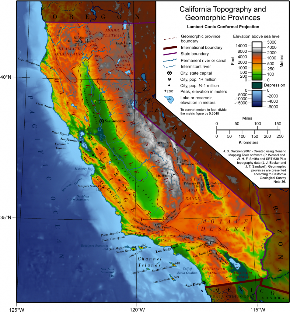 Elevation Map Of California | Historical Maps | California Map - California Elevation Map