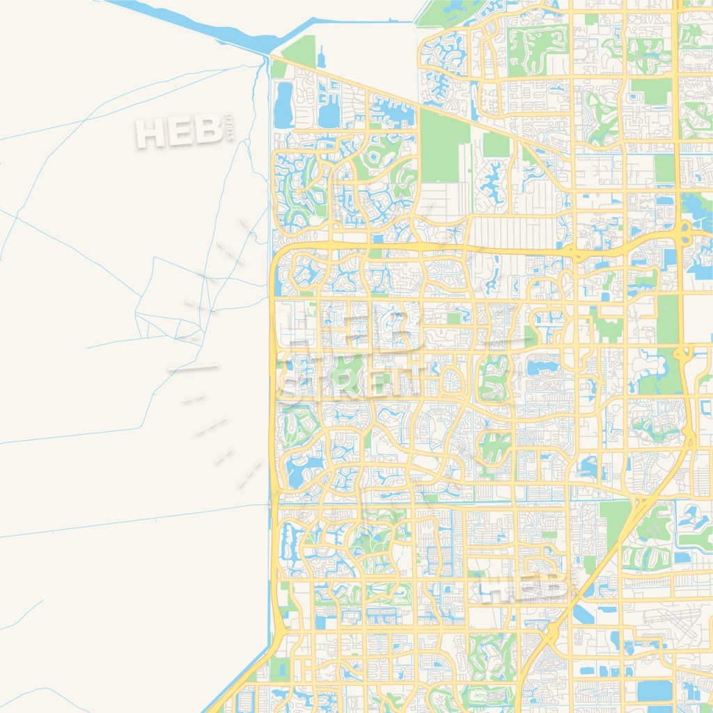 Empty Vector Map Of Coral Springs, Florida, Usa   Hebstreits Sketches - Coral Springs Florida Map