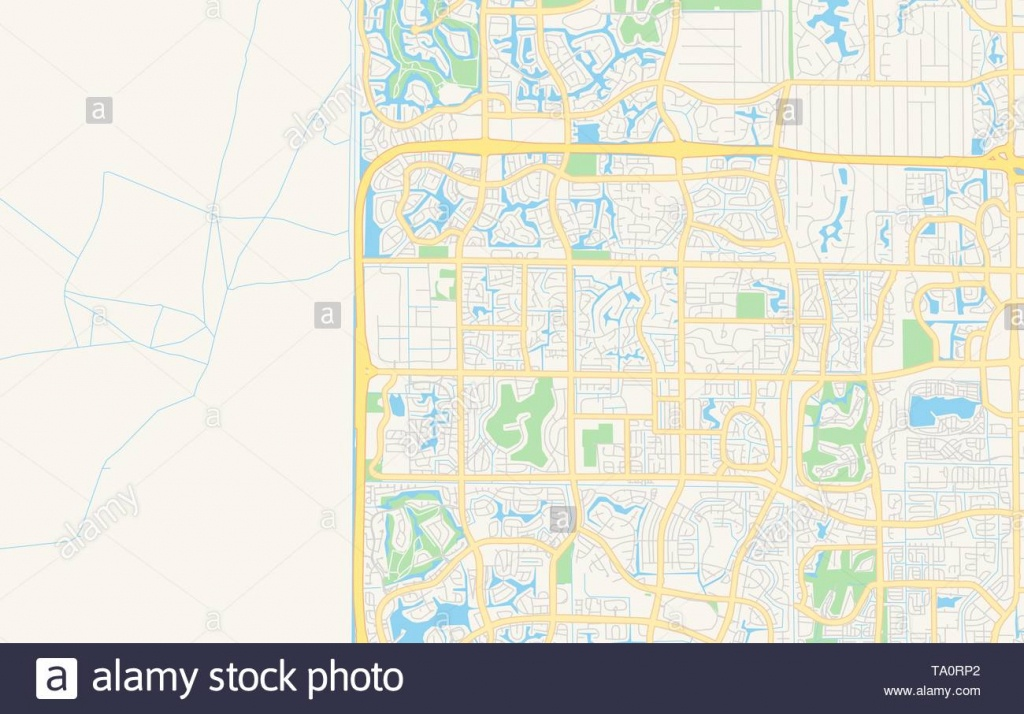 Empty Vector Map Of Coral Springs, Florida, Usa, Printable Road Map - Coral Springs Florida Map