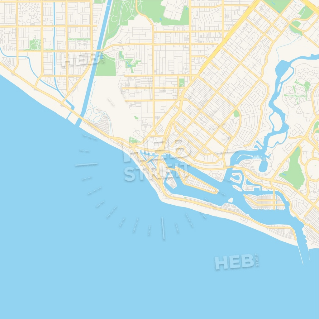 Empty Vector Map Of Newport Beach, California, Usa | Hebstreits Sketches - Newport California Map
