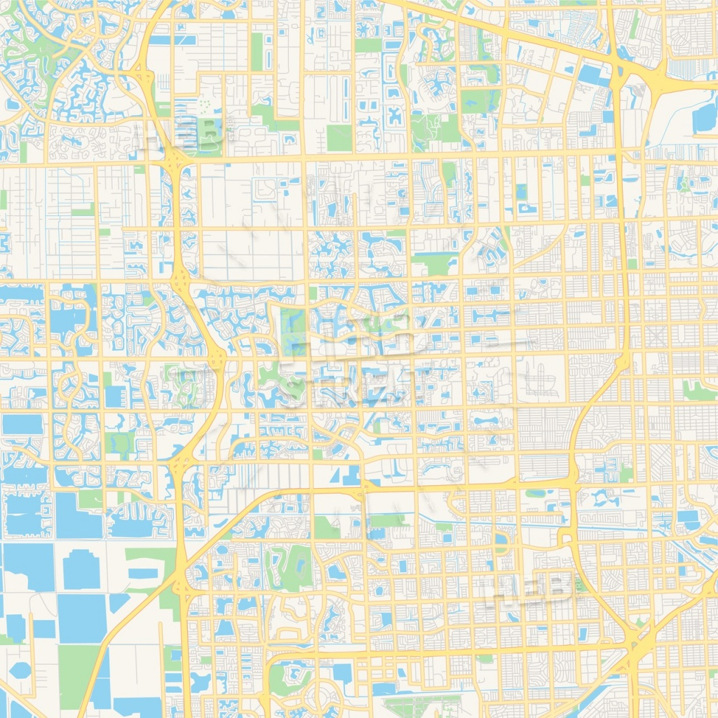 Empty Vector Map Of Pembroke Pines, Florida, Usa | Hebstreits Sketches - Pembroke Pines Florida Map
