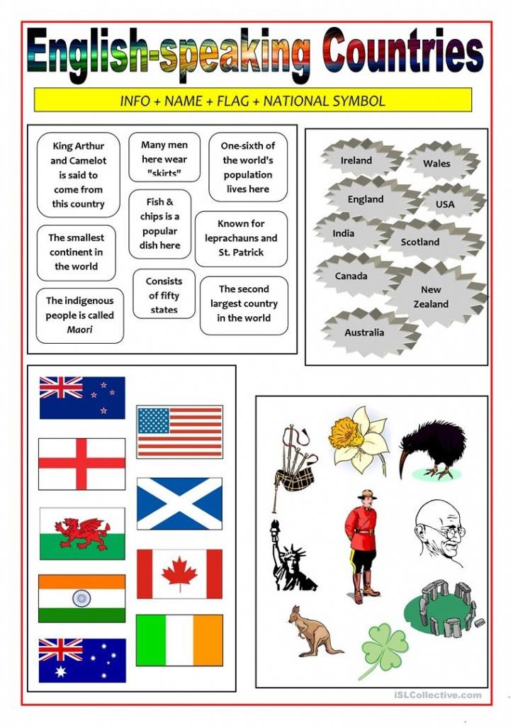English-Speaking Countries - Matching Activity Worksheet - Free Esl - Map Symbols For Kids Printables