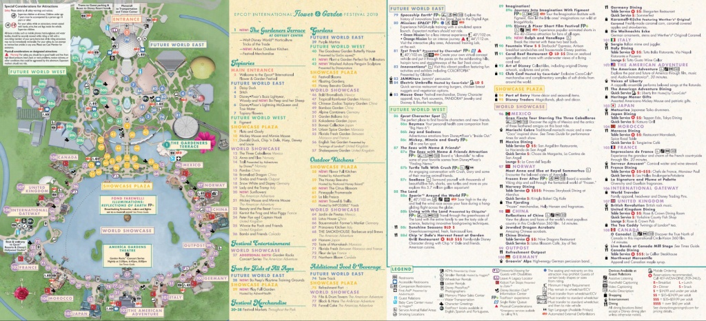 Epcot Flower & Garden Festival Map 2019 At Walt Disney World - Epcot Park Map Printable