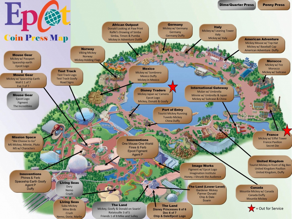 Epcot Pressed Pennies Map | Mickey Magic In 2019 | Epcot Map, Disney - Printable Map Of Epcot 2015