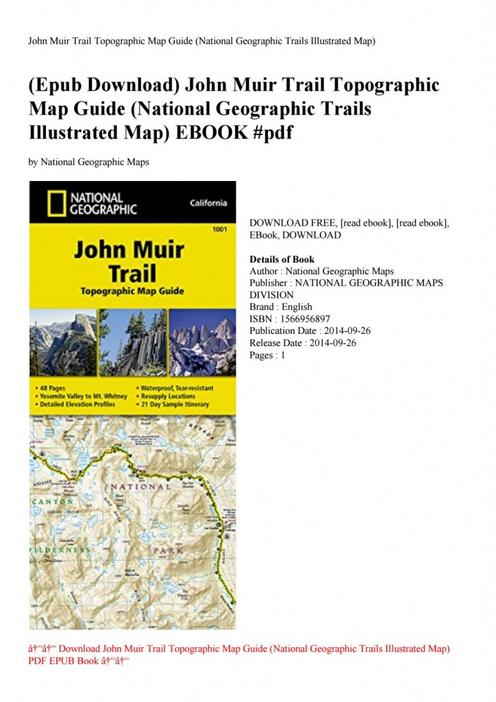 Epub Download) John Muir Trail Topographic Map Guide (National - National Geographic Topo Maps California