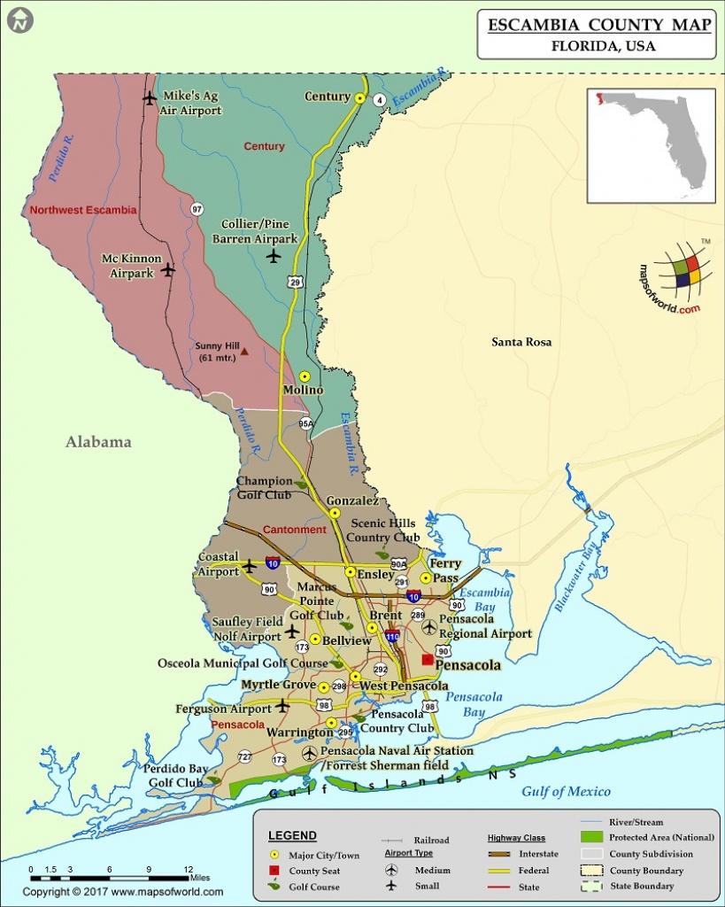 Escambia County Map, Florida - Map Of Escambia County Florida