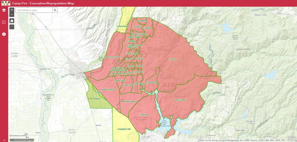 Evacuation/repopulation Map Released For Camp Fire | Ksby - Fire Watch California Map