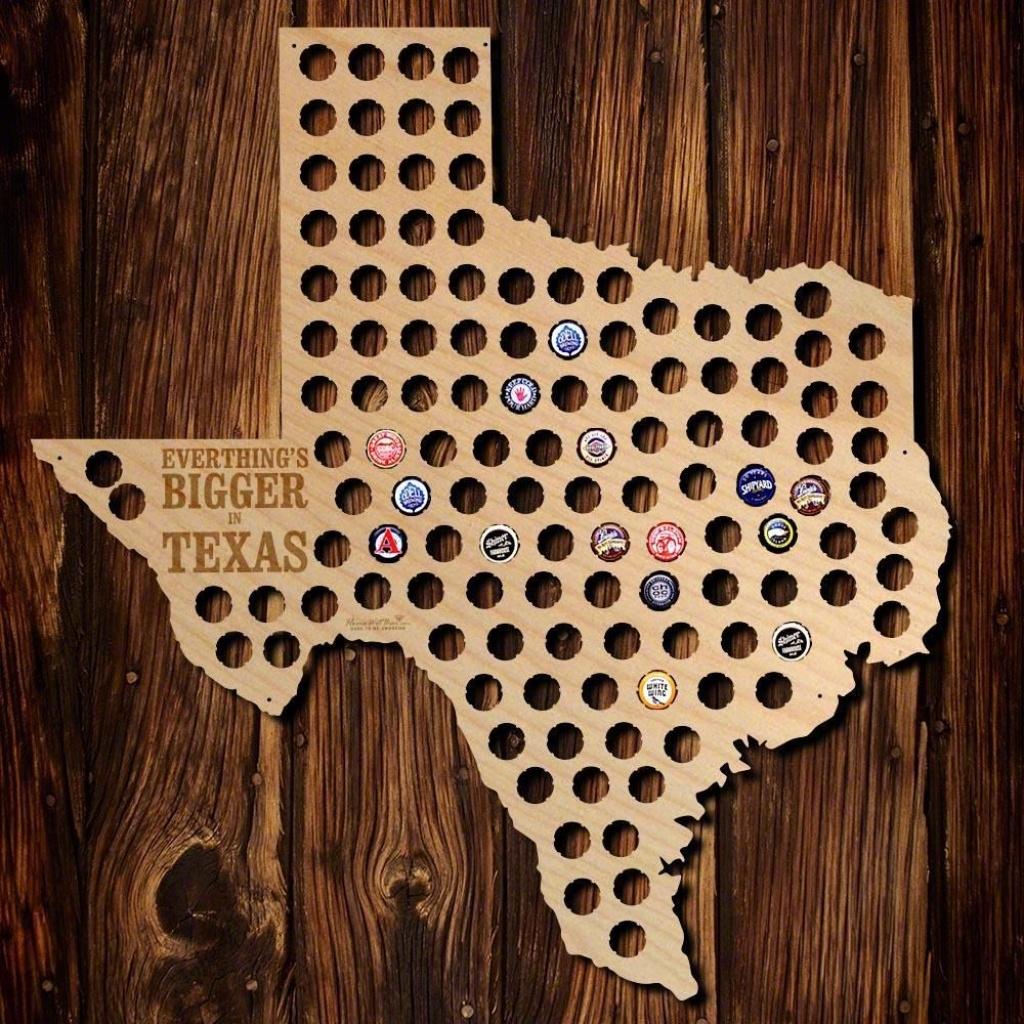 Everything Is Bigger In Texas Beer Cap Map, Brown   Great Idea - Texas Beer Cap Map