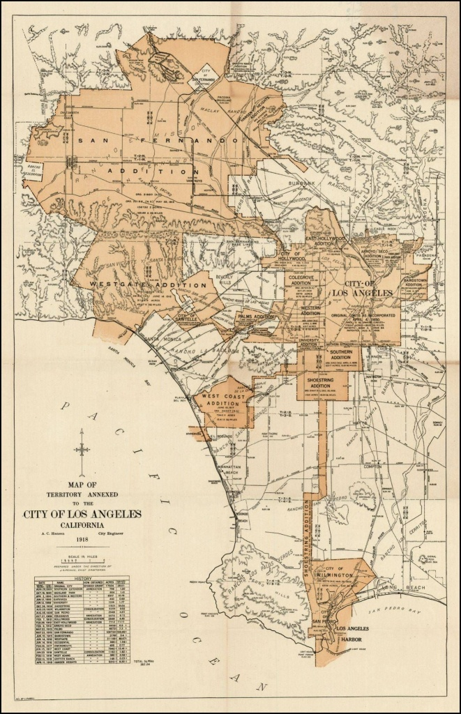 Expanding City Of Los Angeles, Circa 1918 | Maps | City Maps, Old - Historical Maps Of Southern California