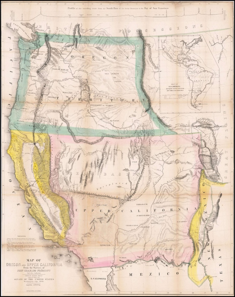 Extremely Rare California Gold Rush Edition Of Fremont'S Epochal Map Of The  West - Gold In California Map