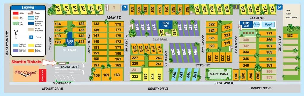 Facilities Map - Anaheim Rv Park, Facilities Map - California Rv Resorts Map