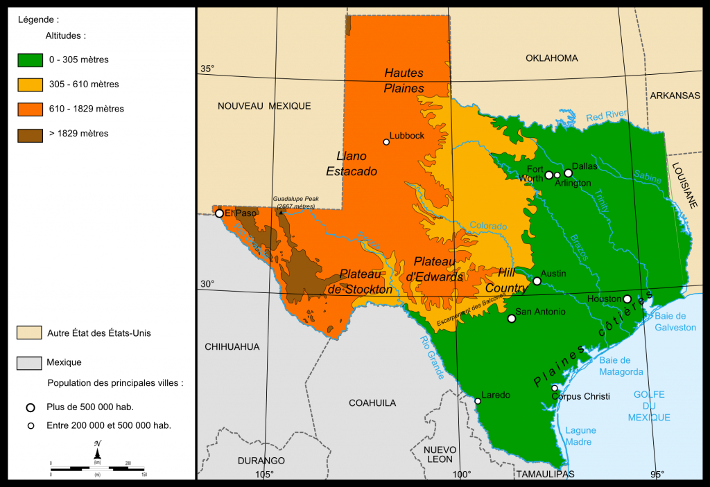 Fichier:map Relief Texas — Wikipédia - Texas Elevation Map