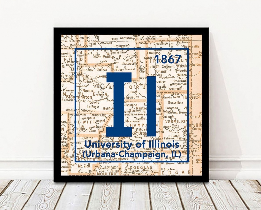 Fighting Illini- University Of Illinois Urbana-Champaign Periodic - Printable Map Of Champaign Il