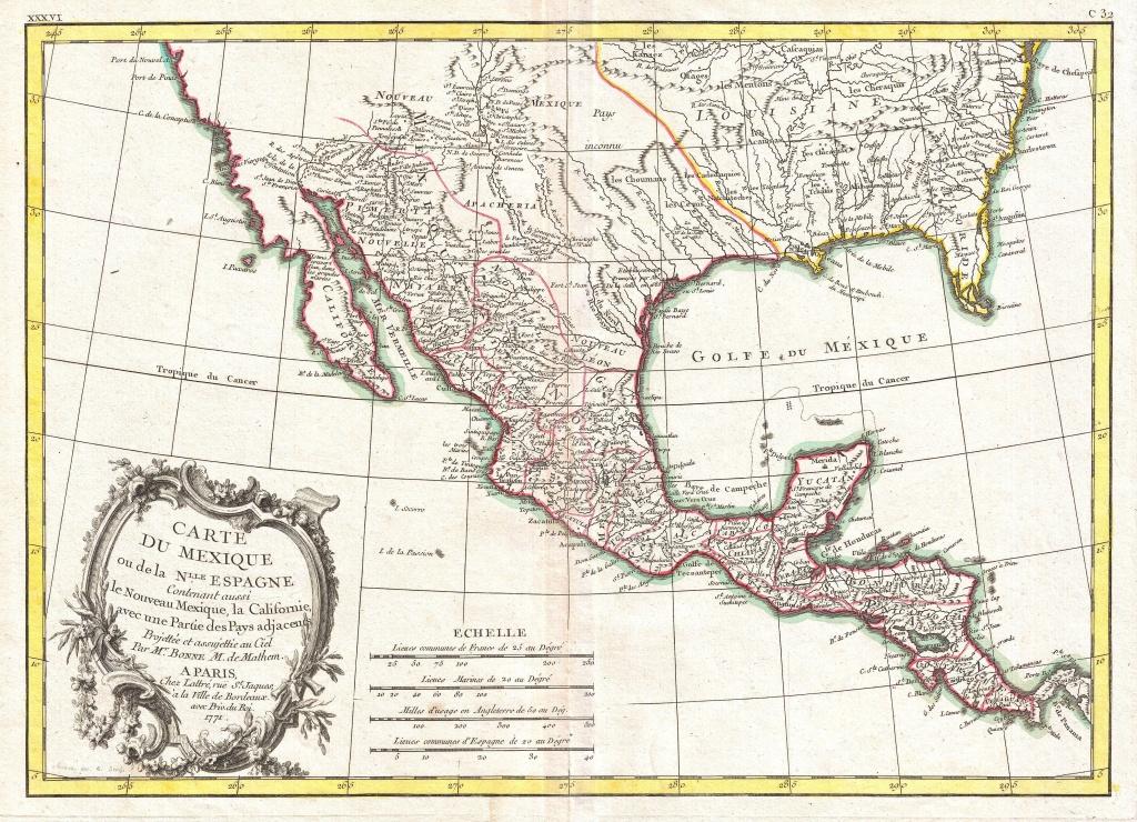 File:1771 Bonne Map Of Mexico (Texas), Louisiana And Florida - Mexico Florida Map
