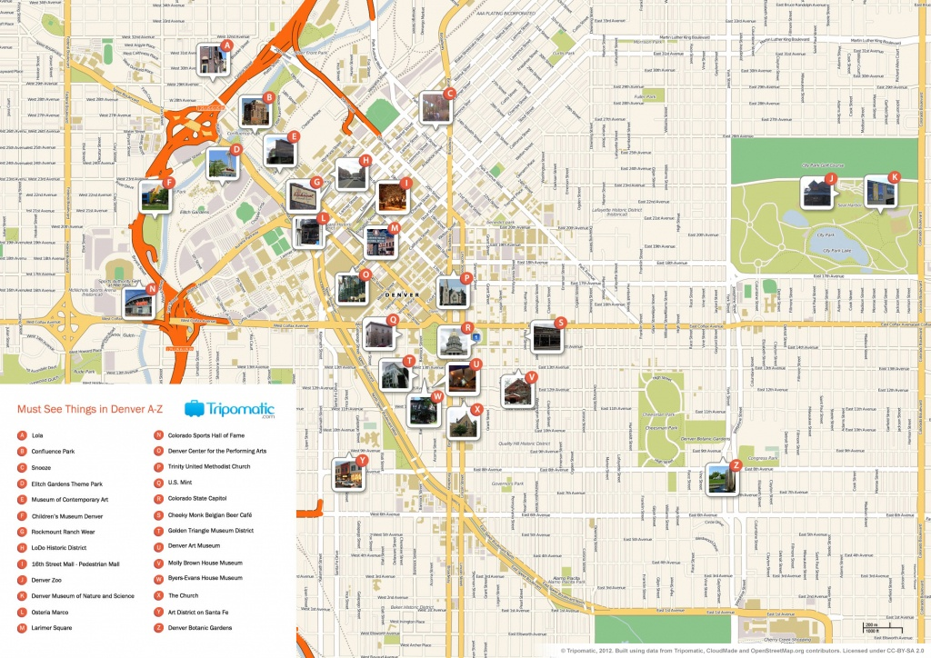 File:denver Printable Tourist Attractions Map - Wikimedia Commons - Printable Map Of Denver
