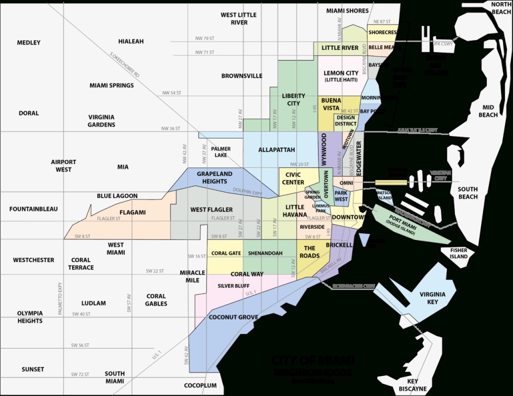 File:miami Neighborhoodsmap - Wikimedia Commons - Map Of The Villages Florida Neighborhoods