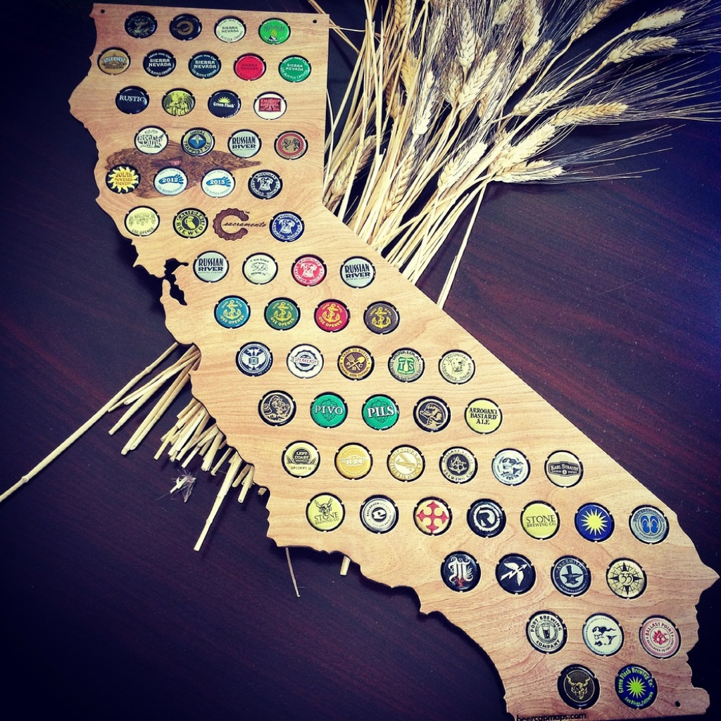 Finished California Beer Cap Map - Swiftmaps - California Beer Cap Map