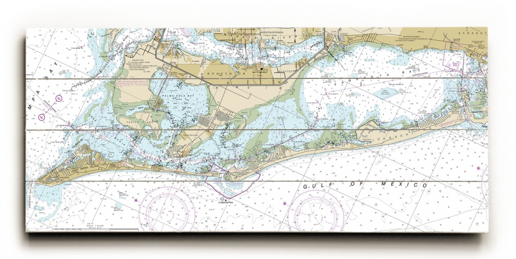 Fl: Anna Maria Island, Longboat Key, Fl Nautical Chart Sign - Florida Keys Nautical Map