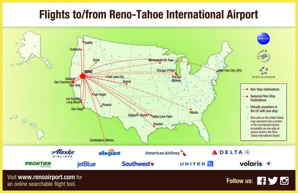 Flight Info: Non-Stop Destinations   Reno-Tahoe International Airport - California Destinations Map
