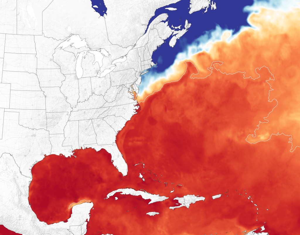 Florence Crossing Warm Waters On The Way To The Carolinas - Florida Water Temperature Map