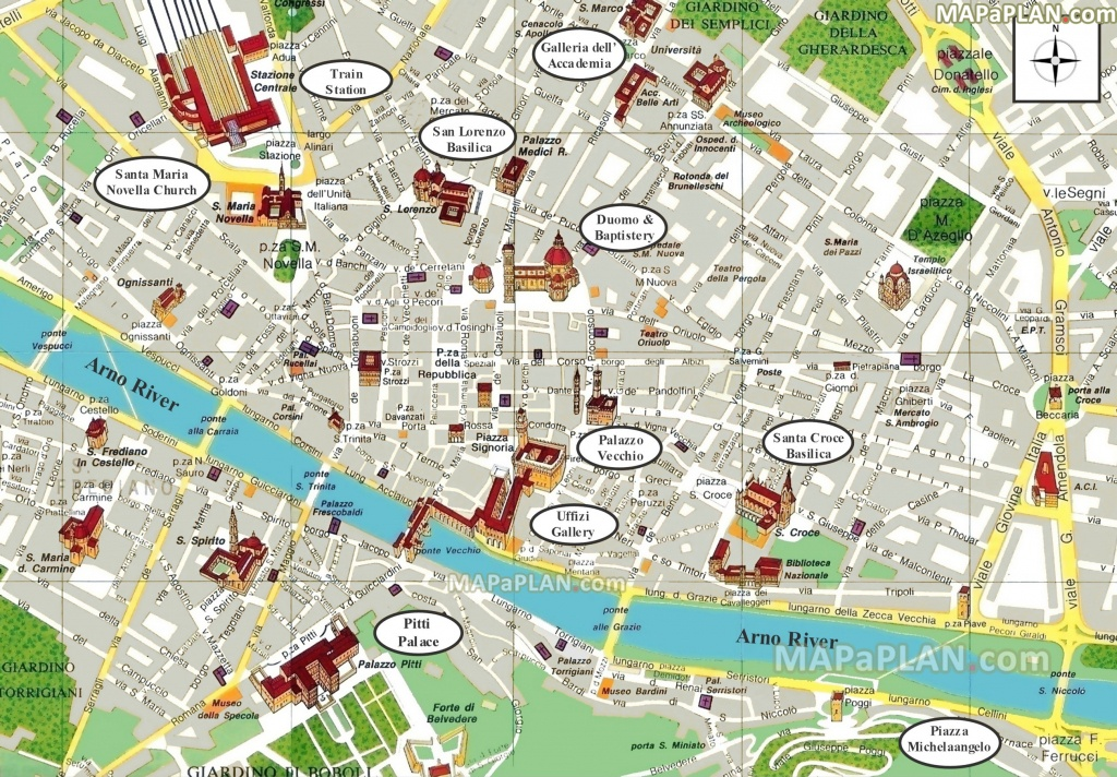 Florence Maps - Top Tourist Attractions - Free, Printable City - Printable Walking Map Of Florence