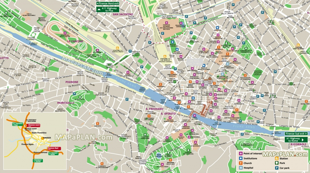 Florence Top Tourist Attractions Map Highways Map Central District - Printable Street Map Of Florence Italy