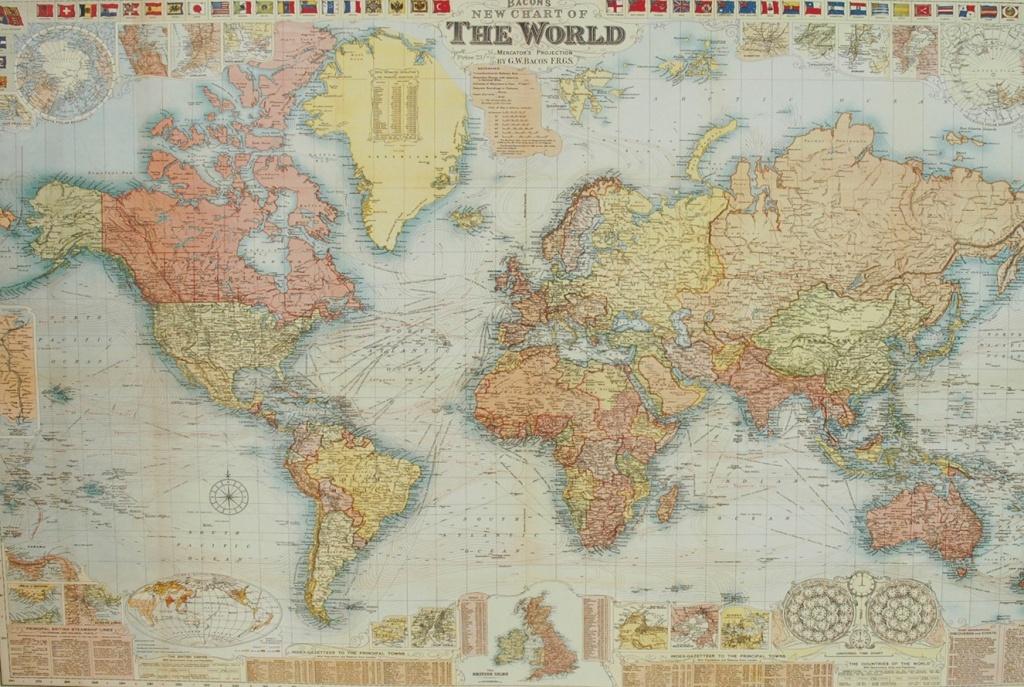 Florentine Print World Map Gw Bacon - Printable Map Paper