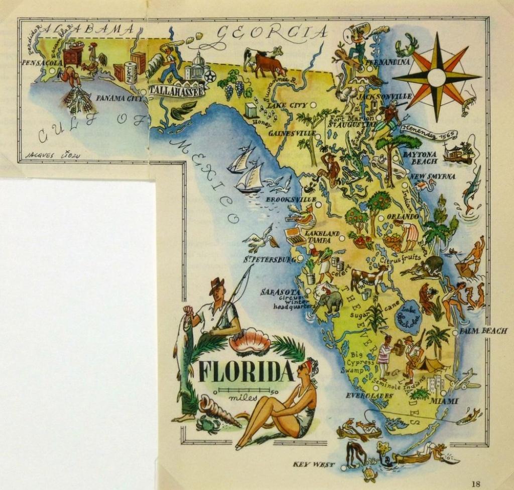 Florida Antique Vintage Pictorial Map | Ebay - Vintage Florida Map