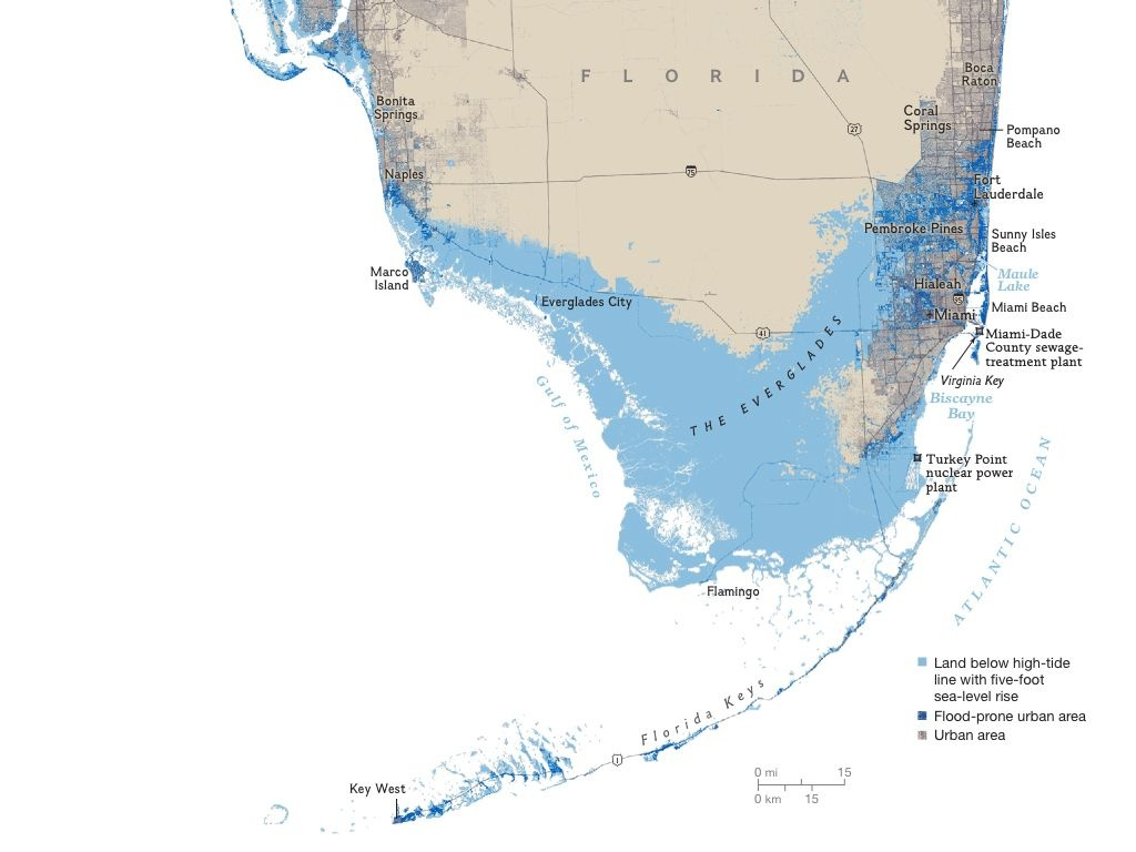 Florida Areas At Risk To A Five Foot Sea Rise | I Love Maps | Map - Florida Sea Rise Map