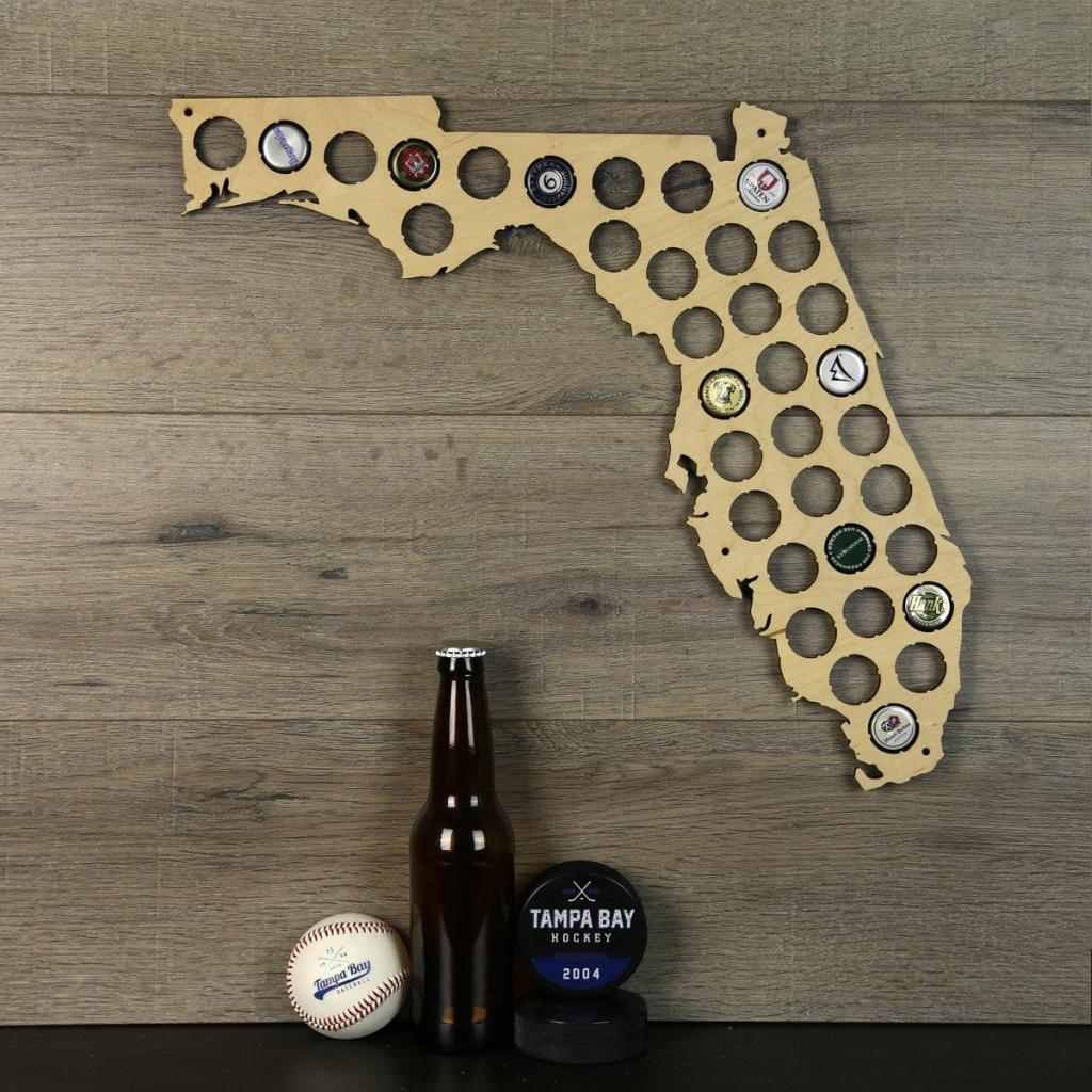 Florida Beer Cap Map Beer Cap Holder Beer Cap State Map Cap   Etsy - Florida Beer Cap Map