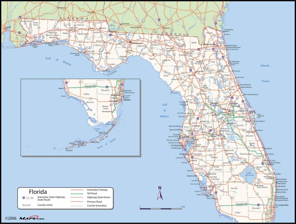 Florida County Wall Map - Florida St Map