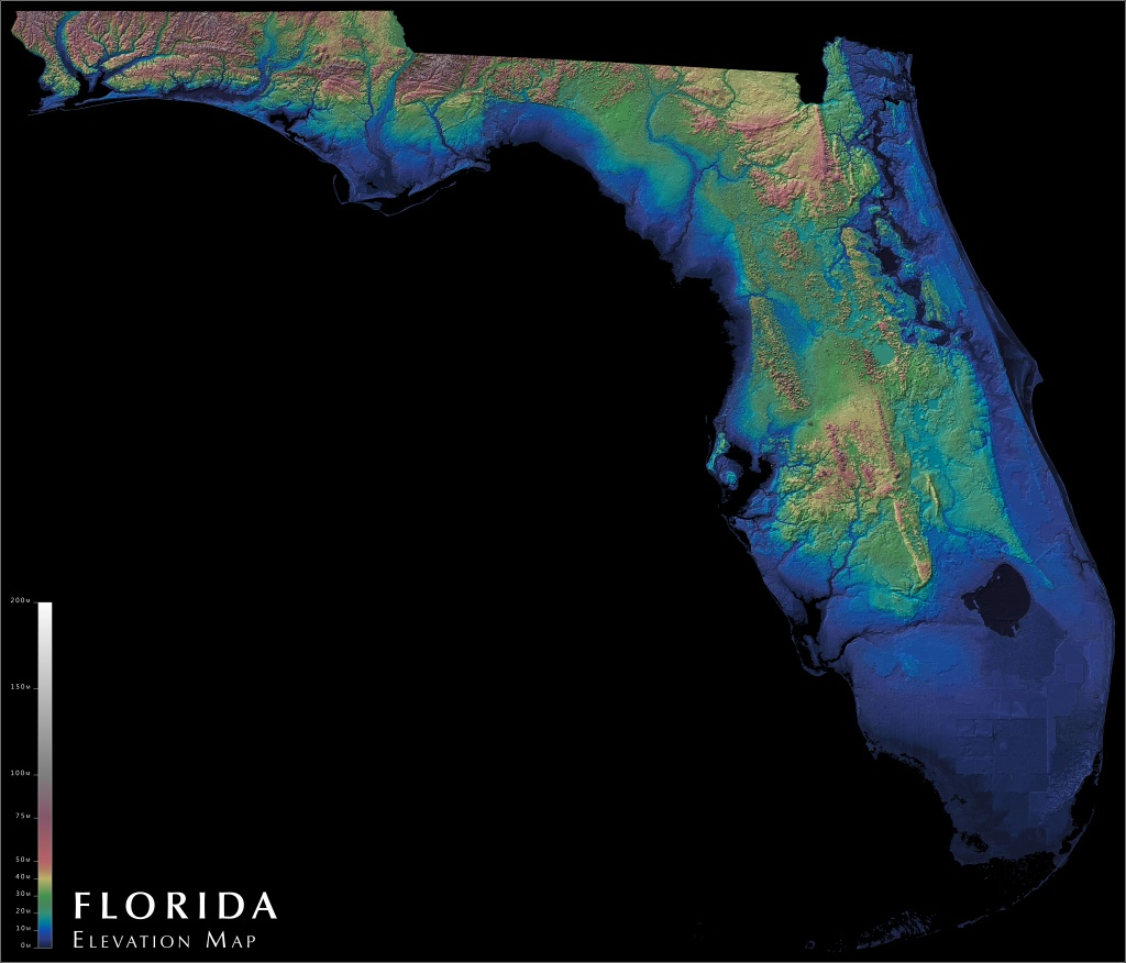 Florida Elevation Map : Florida - Interactive Elevation Map Of Florida