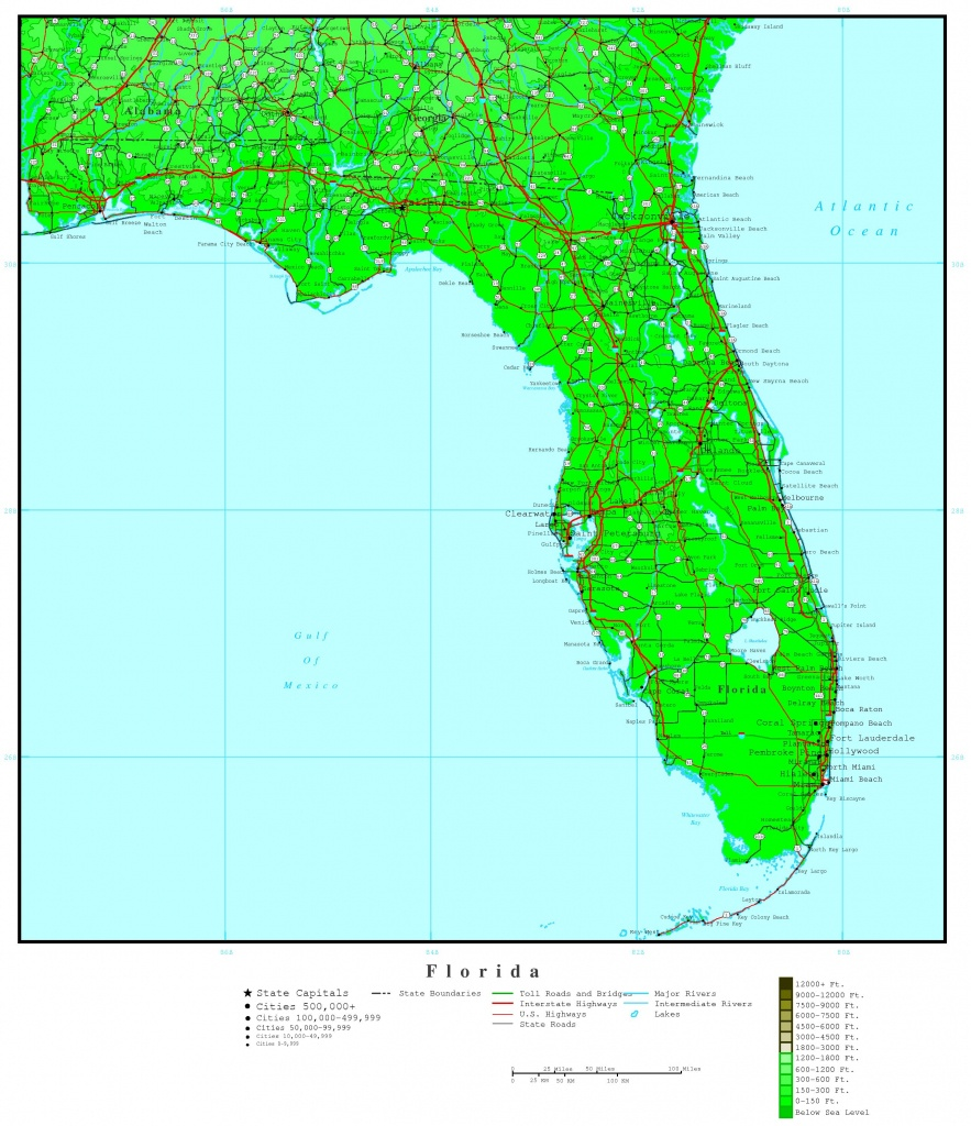 Florida Elevation Map - South Florida Topographic Map